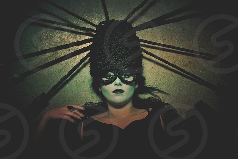 Dark beauty female hair model.  photo
