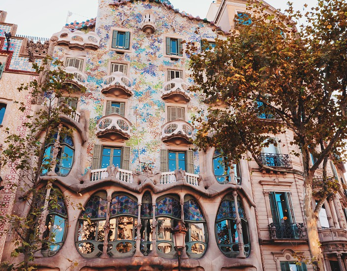 BARCELONA SPAIN - OCTOBER 4 2014: Outdoor view Gaudi's creation-house Casa Batlo. The building that is now Casa Batllo was built in 1877 by Antoni Gaudi. September 04 2014 in Barcelona Spain. photo