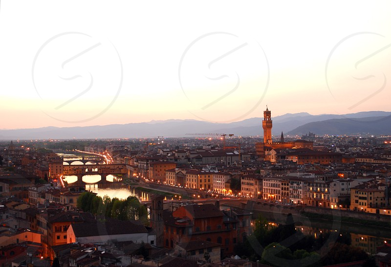 The city of Florence Italy at sunset. photo