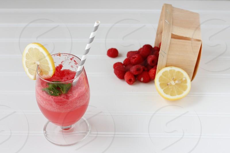 smoothie fruits berries fresh natural lemon red photo