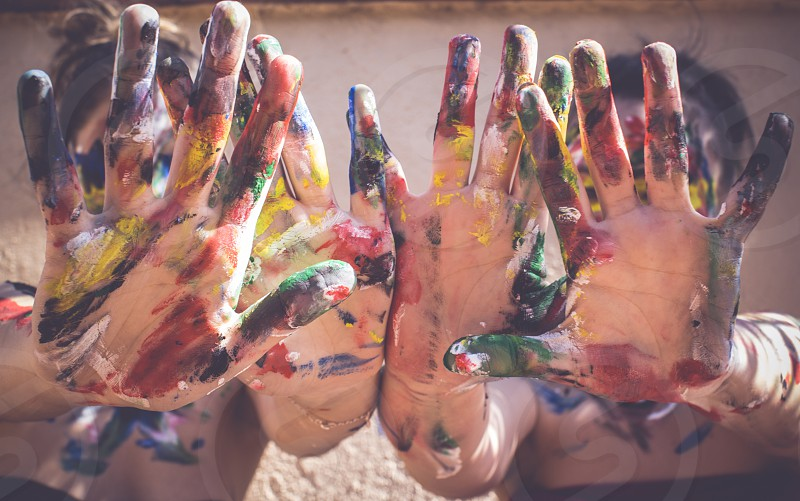 Colorful hands painted photo