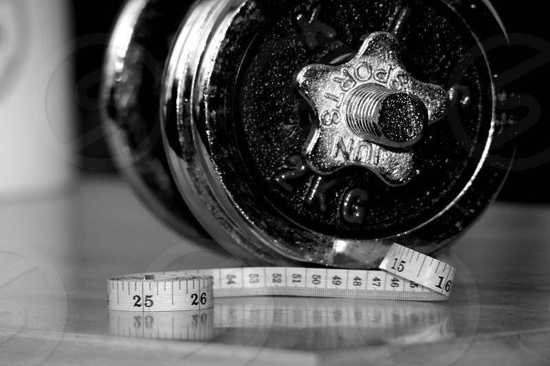 Black & White fitness weight measurement  photo