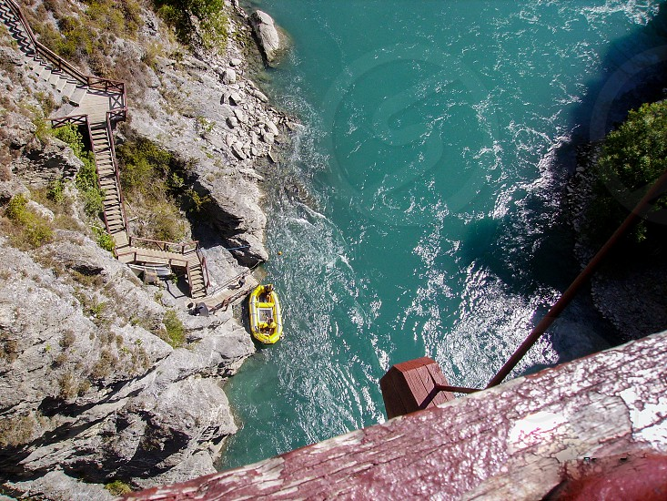 bungee jumping at most popular site. Its locate at the Kawarau Gorge Suspension Bridge. View of lake from the Kawarau Bridge in New Zealand photo