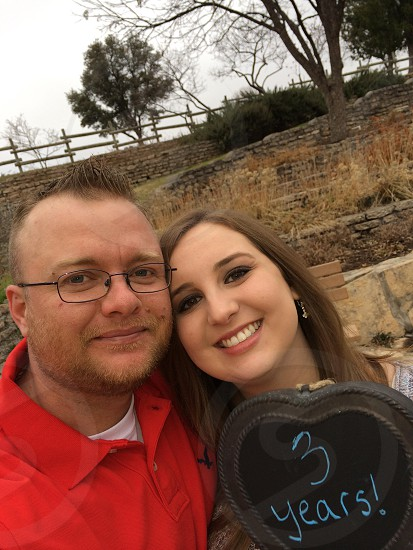 My Wife and I taking our 3rd anniversary picture!  photo