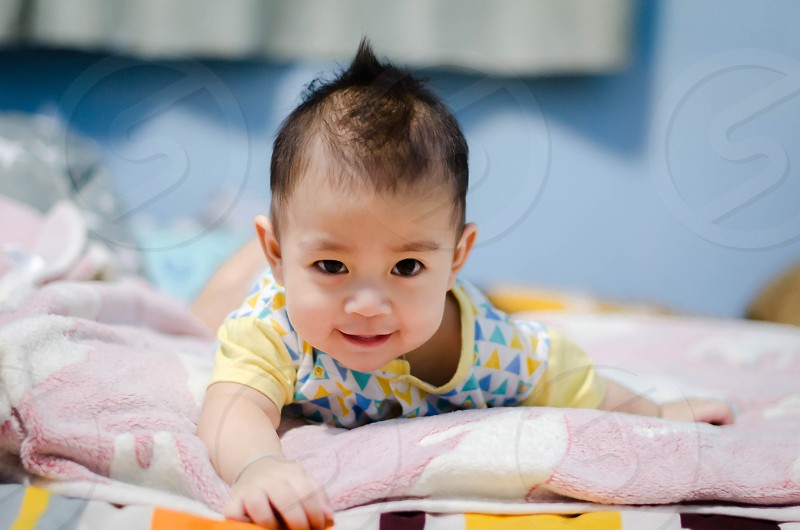 Baby smile happy face cute child people human  photo