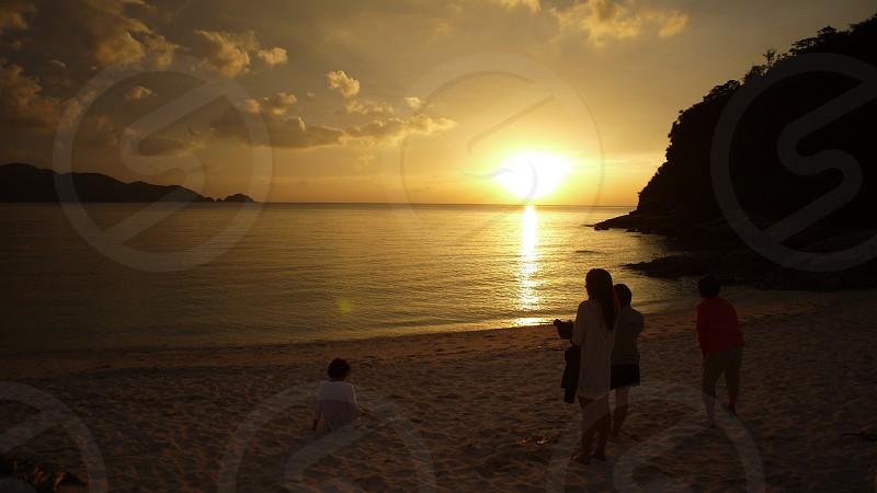 Sea Sunset Japan Okinawa 沖縄、海岸の夕暮れ photo