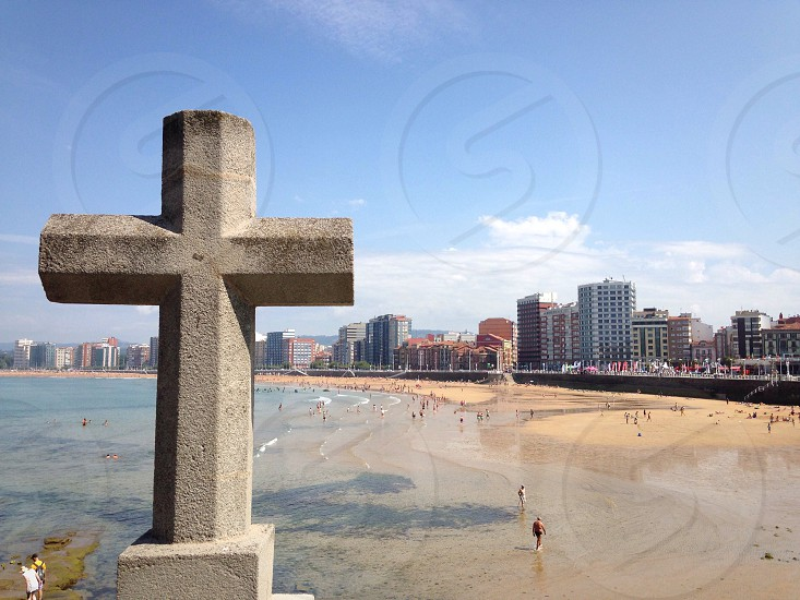 San Lorenzo beach in Gijon Asturias Spain. photo