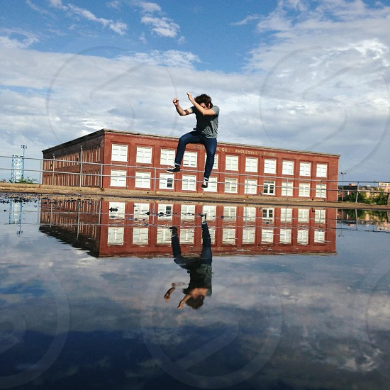 man on top of water photo