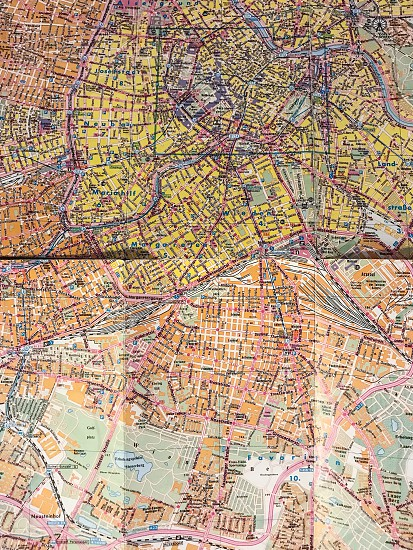 Map flat lay  city Vienna Austria top perspective  streets crowded photo