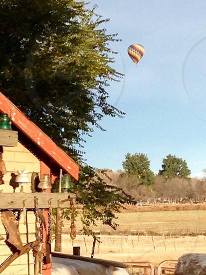 Hot air balloon country farm pasture building  photo
