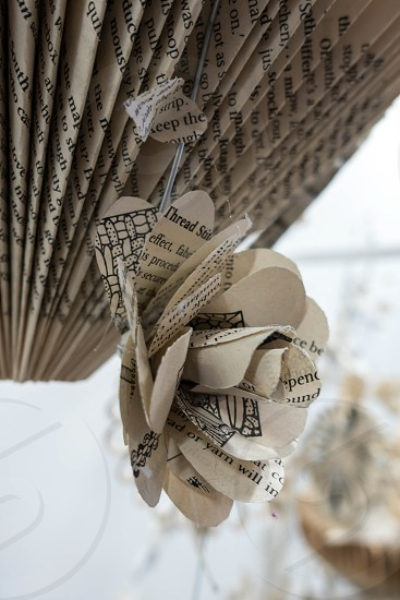 Artistic flower display made of paper at the Millennium Centre in Cardiff photo