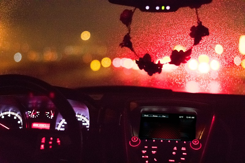 Rainy windshield from the dashboard photo