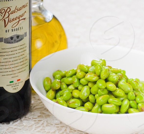 steamed fresh green beans with extra virgin olive oil and balsamic vinegar photo