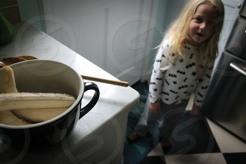 Child kitchen home  baking  banana  toddler  photo