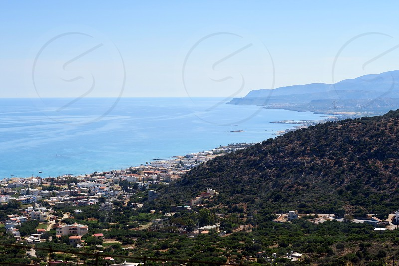 View from the mountains down to bay of Malia Crete (Greece). photo