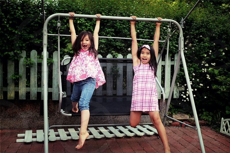 Play and Swing Fun Happy Sisters Playing time enjoy photo