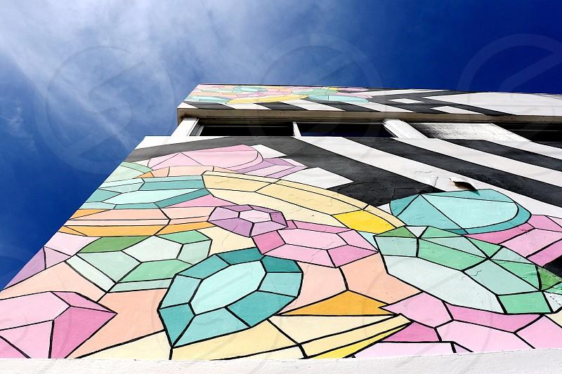 Building colorful art graffiti pastels bold spring gems  photo