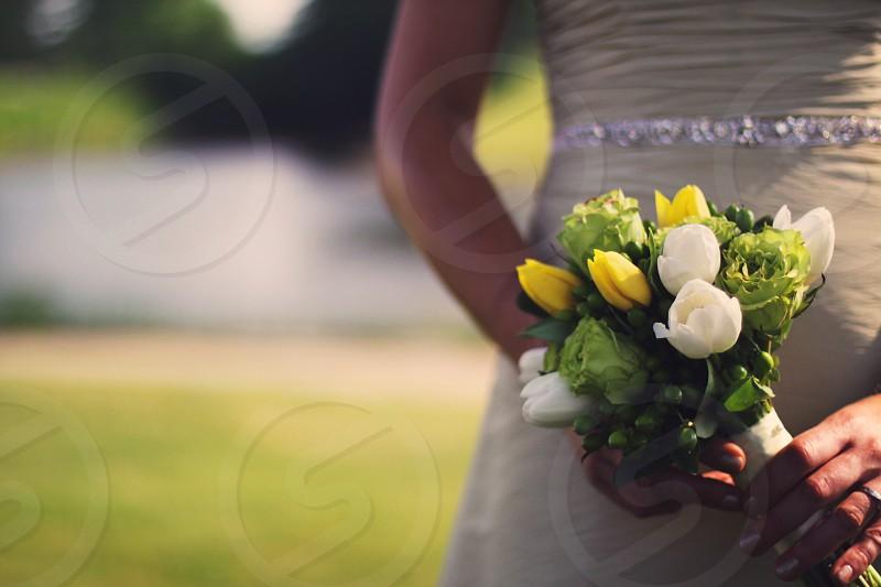 woman holding flower bouquet  photo