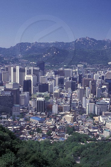 the view from the Seoul Tower in the city centre of Seoul in South Korea in EastAasia.  Southkorea Seoul May 2006 photo