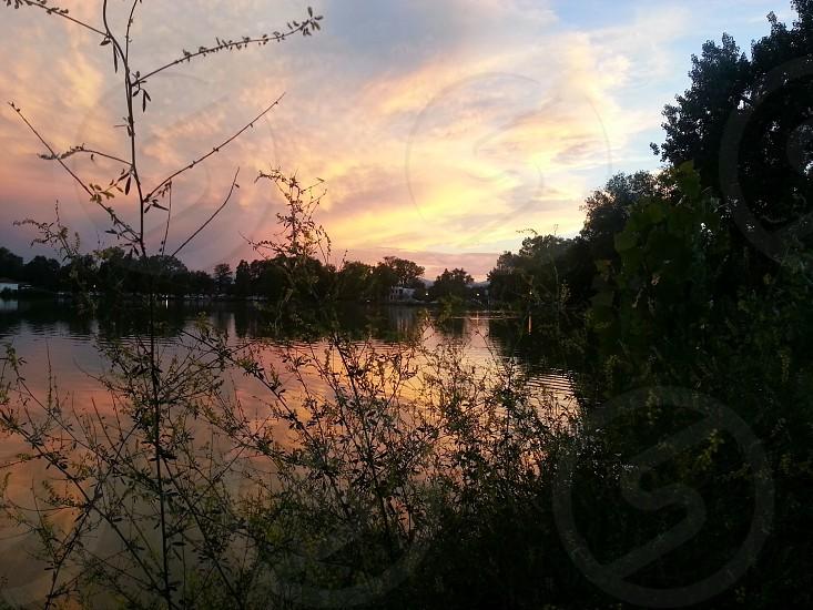 Sunset lake pink and blue skieslush green bushes overlooking the lake. photo