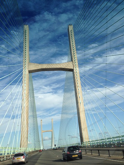 Bridge and blue sky on a journey. photo