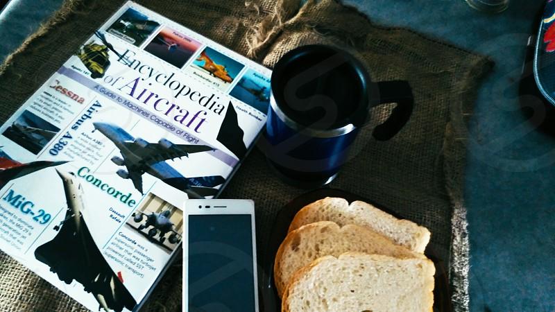 Breakfast on jet plane. photo