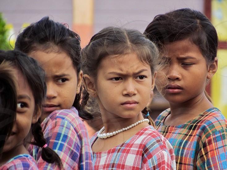 child kid childhood school student thailand Cambodian girls attention beautiful children kids photo
