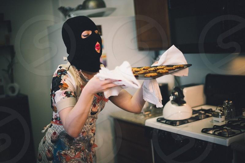 Ski mask cookies baking abstract  photo