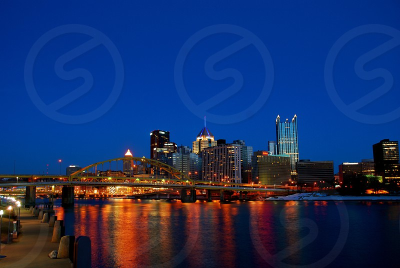 A view of the downtown Pittsburgh skyline from the North Shore. photo