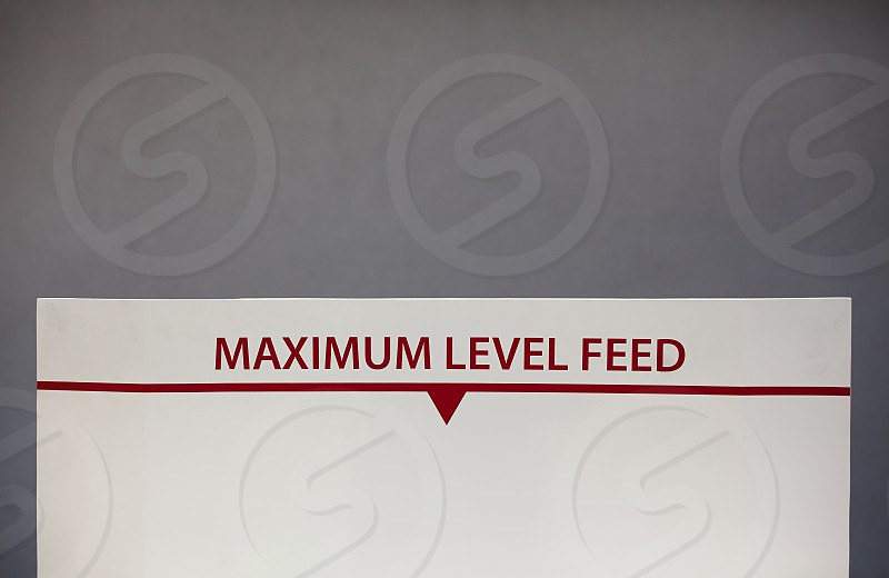 Part of a transportation industrial vehicle sign for maximum level feed. photo