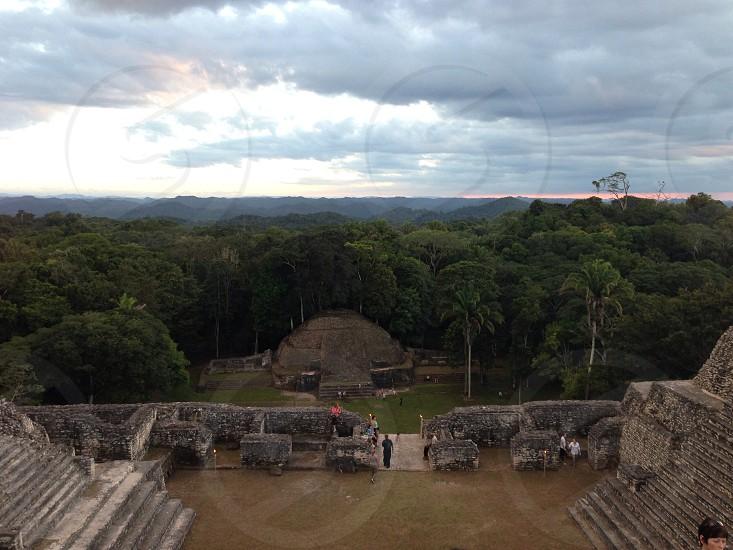 Atop a Mayan temple photo