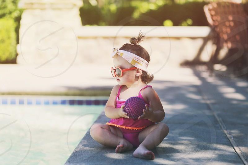 Poolside babe photo