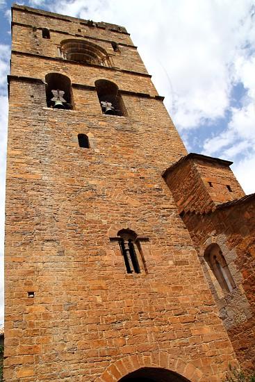 Ainsa medieval romanesque village church Huesca Aragon Pyrenees spain photo