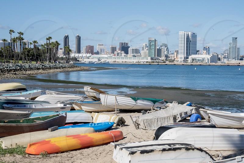 Coronado San Diego California Beach boats canoe water city ckyline photo