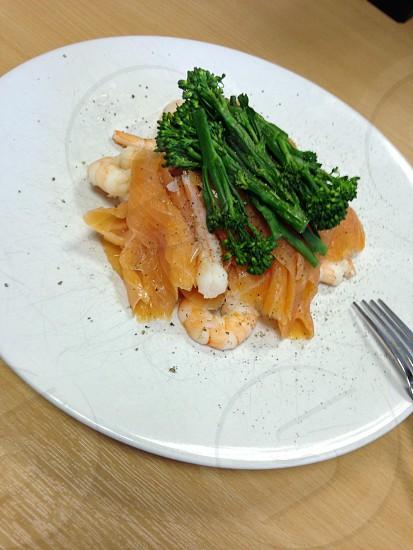 Food meal salmon smoked broccoli pepper healthy food  photo