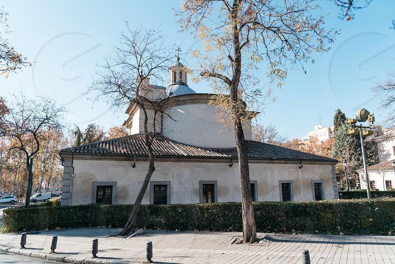 Outdoors view of Royal Chapel of St. Anthony of La Florida in Madrid against blue sky. San Antonio de la Florida photo