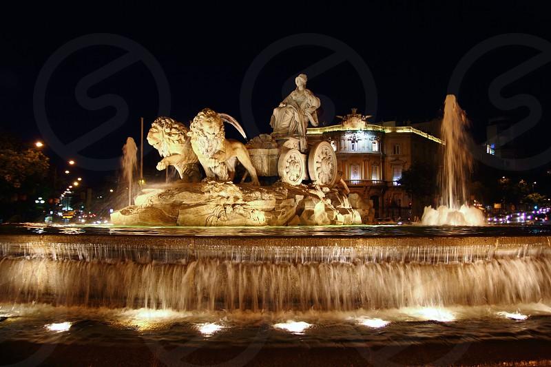 Cibeles night statue in Madrid Paseo Castellana of Spain photo