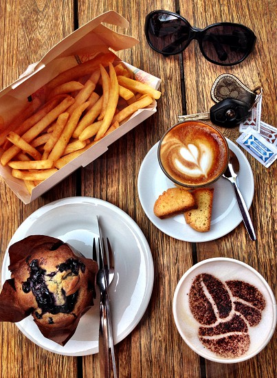 Brunch quick bites coffee snack muffin key  photo