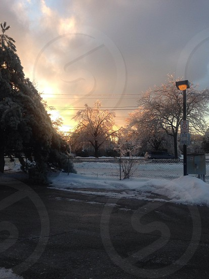Sunset on an icy afternoon photo