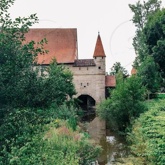 Dinkelsbühl Dinkelsbuhl Bavaria Germany German town village tower architecture travel Romantic Road building garden moat wall ramparts fortifications photo