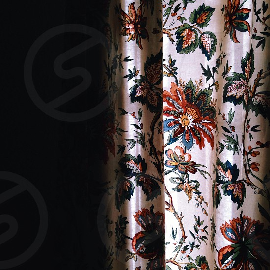 white with multicolored floral print window curtains photo