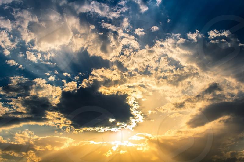 A sunset light rays. photo