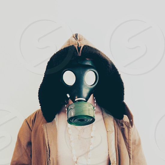 Gas mask portraiture.  photo