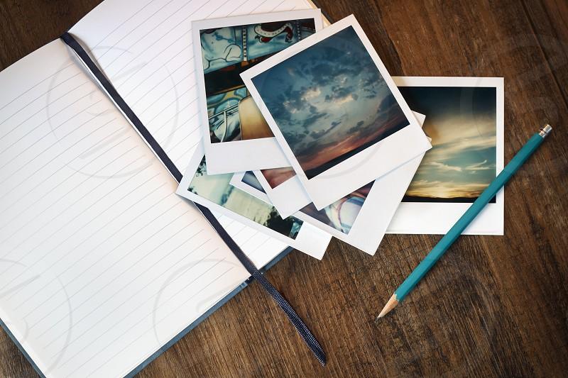 Journal and Polaroids photo