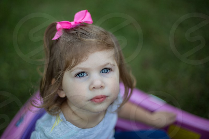 Toddler Girl with Beautiful Blue Eyes photo