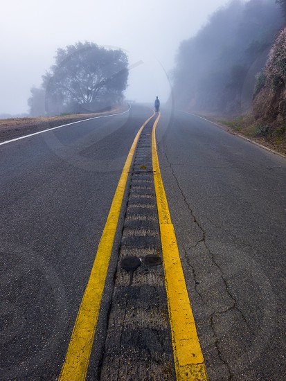 asphalt roadway with yellow stripes photo