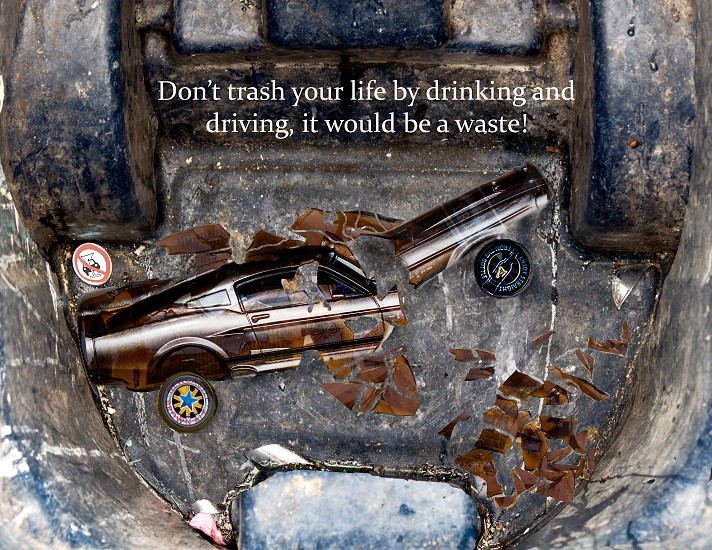 A public service announcement for drunk driving.  Don't trash your life by drinking and driving.  photo