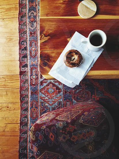 bagel breakfast mountain home cabin lifestyle coffee kilim rustic wake up morning  photo