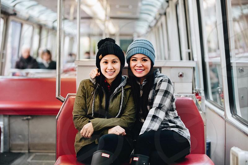 OOTD; Love; Friendship; Sister; Seattle; Monorail; Winter; Fashion; Laughter; Portrait; Transportation photo