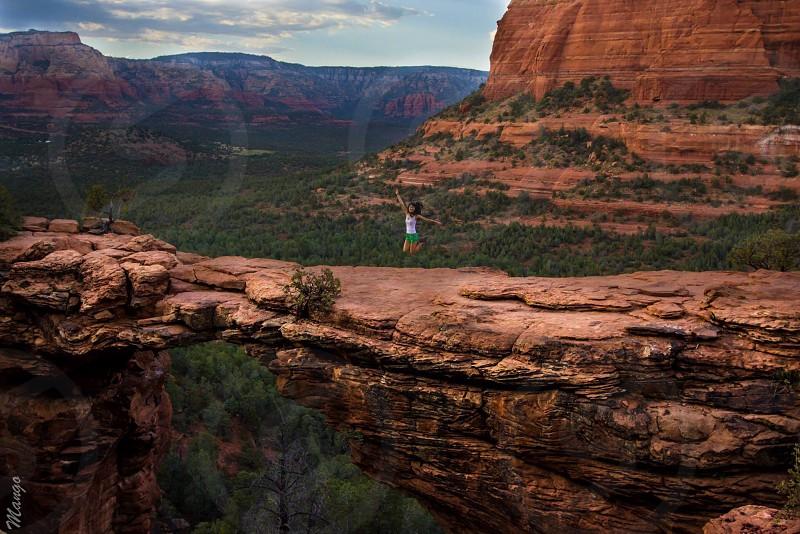 Devils bridge Sedona Arizona hike roadtrip explore wanderlust jump desert photo